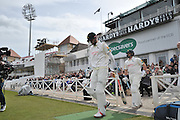 Alex Hales and Steven Mullaney walk out to open the innings for Nottinghamshire during the Specsavers County Champ Div 1 match between Nottinghamshire County Cricket Club and Yorkshire County Cricket Club at Trent Bridge, West Bridgford, United Kingdon on 1 May 2016. Photo by Simon Trafford.