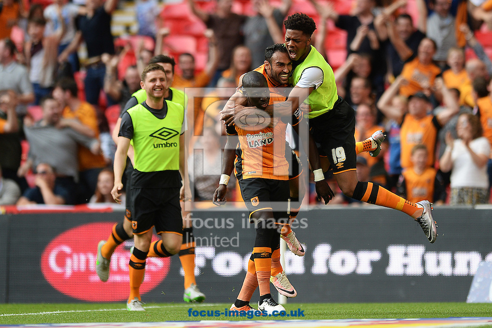 Mohamed Diame of Hull City celebrates scoring his sides first goal to make the scoreline 1-0 during the Sky Bet Championship Play-off Final between Hull City and Sheffield Wednesday at KC Stadium, Hull<br /> Picture by Richard Blaxall/Focus Images Ltd +44 7853 364624<br /> 28/05/2016
