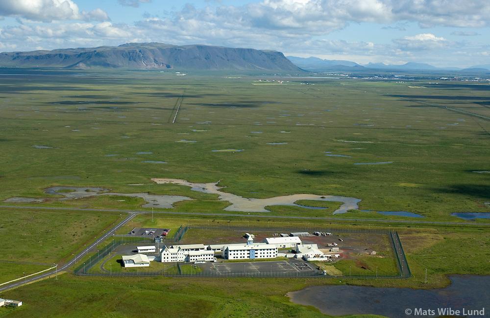 Litla-Hraun fangelsi séð til norðurs, Árborg áður Eyrarbakkahreppur / Litla-Hraun prison viewing north, Arborg former Eyrarbakkahreppur.