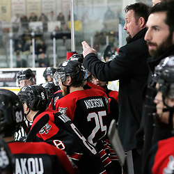 TRENTON, ON  - MAY 5,  2017: Canadian Junior Hockey League, Central Canadian Jr. &quot;A&quot; Championship. The Dudley Hewitt Cup. Game 7 between The Georgetown Raiders and The Powassan Voodoos. Georgetown Raiders Head Coach Greg Walters during the third period <br /> (Photo by Amy Deroche / OJHL Images)
