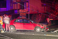 Tauranga-Car collides with power pole bringing down lines