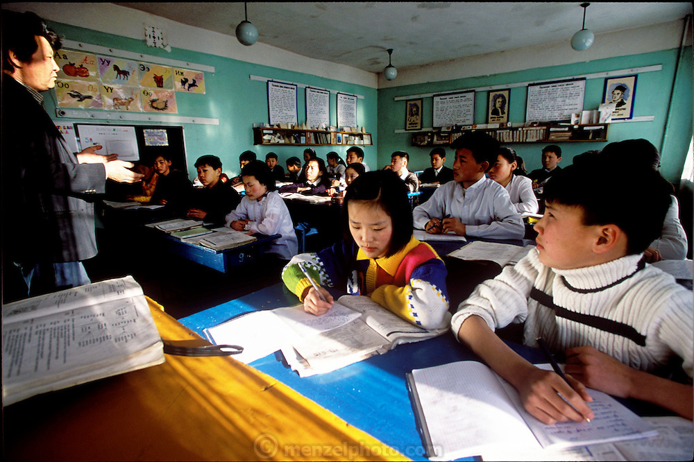 Batbileg Batsuuri (right) in his Russian class at school. (Supporting image from the project Hungry Planet: What the World Eats.) The Batsuuri family of Ulaanbaatar, Mongolia, is one of the thirty families featured, with a weeks' worth of food, in the book Hungry Planet: What the World Eats.