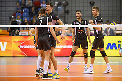December 16, 2017 - Krakow, Malopolska, Poland - Players of of SKRA Belchatow celebrate a point during the match between Lube Civitanova and SKRA Belchatow during the semi finals of Volleyball Men's Club World Championship 2017 in Tauron Arena. (Credit Image: © Omar Marques/SOPA via ZUMA Wire)