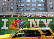 © licensed to London News Pictures.New York, USA  30/05/11. A sightseeing bus passes a New York Cab. Views of New York City. Please see special instructions. Photo credit should read Stephen Simpson/LNP