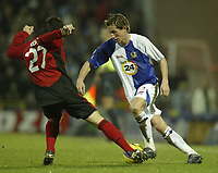 Photo: Aidan Ellis.<br /> Blackburn Rovers v Bayer Leverkusen. UEFA Cup, 2nd Leg. 22/02/2007.<br /> Rover's Morten Gamst Pedersen takes on Bayer's Gonzalo Castro