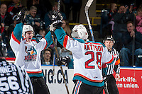 KELOWNA, CANADA - FEBRUARY 13: Jack Cowell #8 and Leif Mattson #28 of the Kelowna Rockets celebrate a second period goal against the Seattle Thunderbirds on February 13, 2017 at Prospera Place in Kelowna, British Columbia, Canada.  (Photo by Marissa Baecker/Shoot the Breeze)  *** Local Caption ***