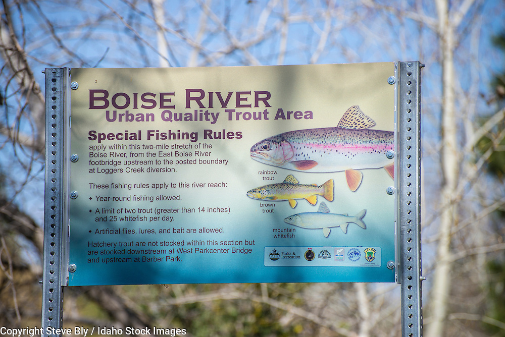 Boise River/ Fishing/ Greenbelt/Urban Quality Trout Area Interpretive sign along Boise River Greenbelt, Boise, Idaho