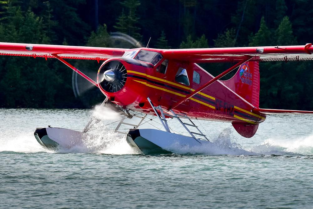 Warming up the DHC-2 De Havilland Beaver prior to take off from Schwatka Lake, Yukon