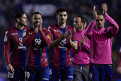 April 27, 2018 - Valencia, Valencia, Spain - Levante UD players celebrate the victory during the La Liga game between Levante UD and Sevilla FC at Ciutat de Valencia on April 27, 2018 in Valencia, Spain  (Credit Image: © David Aliaga/NurPhoto via ZUMA Press)