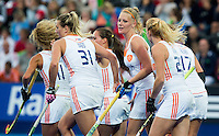 LONDON -  Unibet Eurohockey Championships 2015 in  London. final women  Netherlands v England (2-2) , England wins shoot outs. Dutch team  celebrate the first goal from Caia van Maasakker.    WSP Copyright  KOEN SUYK