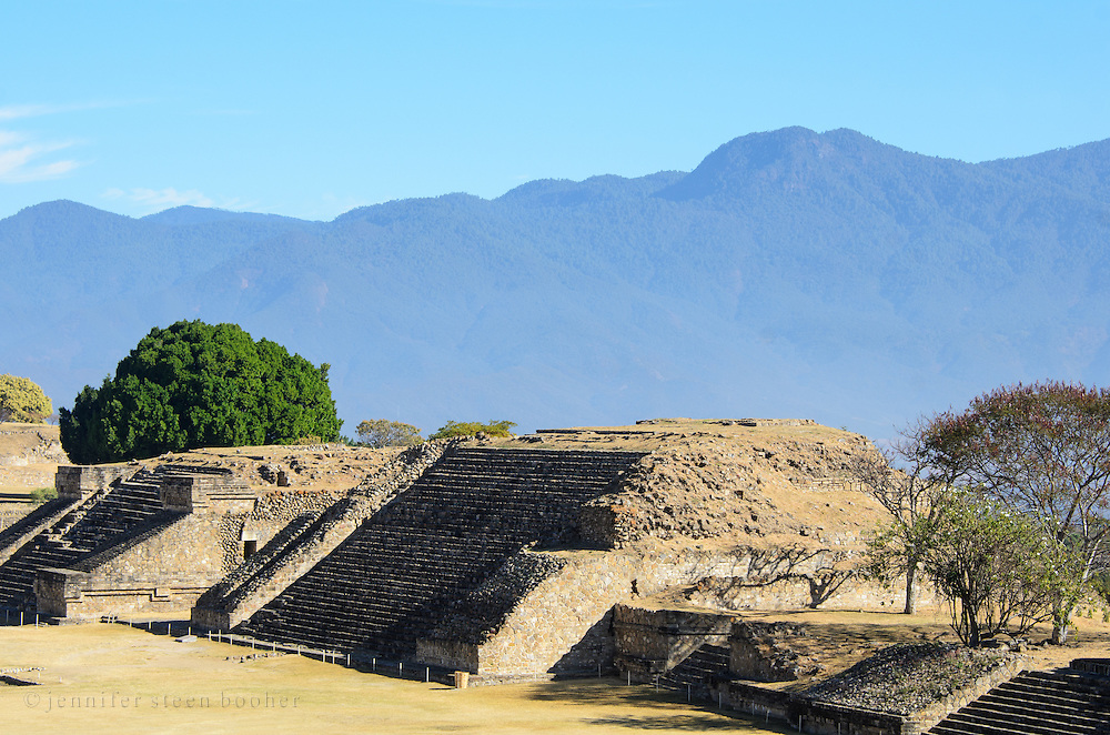 Building P, also called 'El Piramide,' in the ancient Zapotec city of Monte Alban, Oaxaca, Mexico.