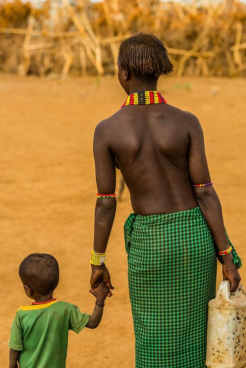 Dassanach tribe woman and child, Omo Valley, Ethiopia.