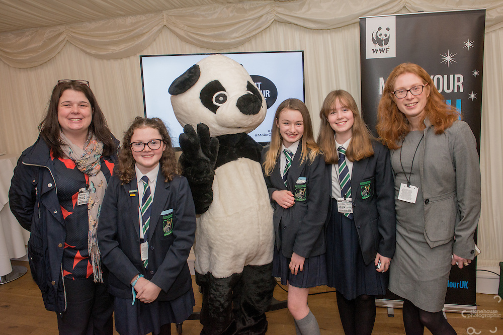 Secondary School winners  pose with Panda during the WWF UK Earth Hour 10th Anniversary Parliamentary Reception, Terrace Pavilion, Palace of Westminster. 28th Feb. 2017