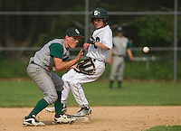 Sunapee's Lane Smith gets to second base ahead of the throw to Colebrook's Bryce Hicks during Division IV semi final baseball at Plymouth State University Wednesday evening.  (Karen Bobotas/for Valley News)