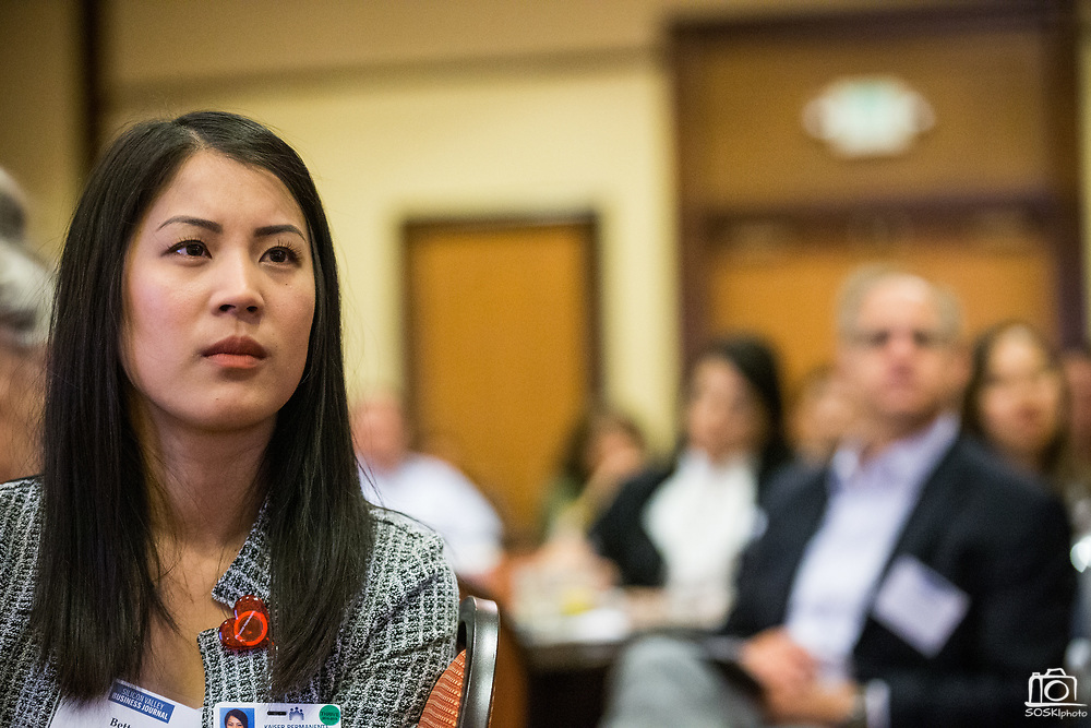 Betty Ho of Kaiser Permanente listens to a panel discussion during the Silicon Valley Business Journal's Future of Fremont event at Fremont Marriott Silicon Valley in Fremont, California, on June 18, 2019.  (Stan Olszewski for Silicon Valley Business Journal)