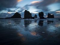 The Sea Stacks at Motukiekie beach, west coast of the South Island, New Zealand.