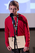 Ian Swain of Ashland Middle School introduces himself during the Southeastern Ohio Regional Spelling Bee Regional Saturday, March 16, 2013. The Regional Spelling Bee was sponsored by Ohio University's Scripps College of Communication and held in Margaret M. Walter Hall on OU's main campus.