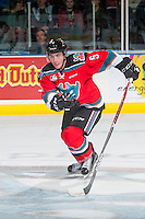 KELOWNA, CANADA - DECEMBER 3: Konrad Belcourt #5 of the Kelowna Rockets skates against the Brandon Wheat Kings on December 3, 2016 at Prospera Place in Kelowna, British Columbia, Canada.  (Photo by Marissa Baecker/Shoot the Breeze)  *** Local Caption ***