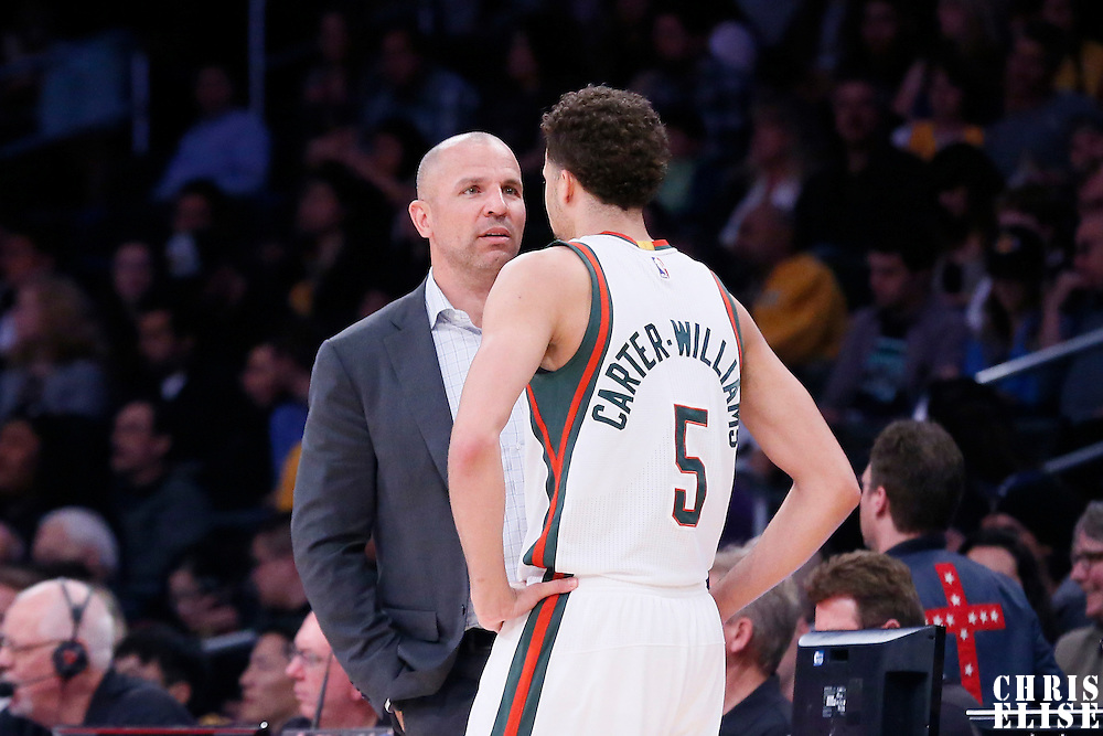 27 February 2015: Milwaukee Bucks head coach Jason Kidd talks to Milwaukee Bucks guard Michael Carter-Williams (5) during the Los Angeles Lakers 101-93 victory over the Milwaukee Bucks, at the Staples Center, Los Angeles, California, USA.