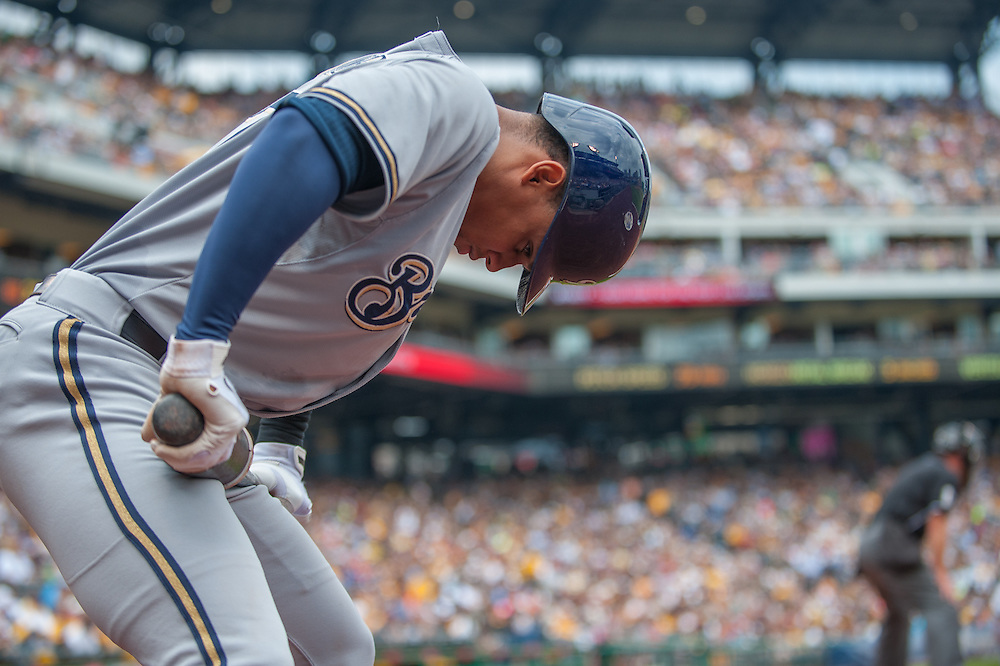 PITTSBURGH, PA - JUNE 08: Carlos Gomez #27  of the Milwaukee Brewers warms up on the on-deck circle during the game against the Pittsburgh Pirates  at PNC Park on June 8, 2014 in Pittsburgh, Pennsylvania. (Photo by Rob Tringali) *** Local Caption *** Carlos Gomez