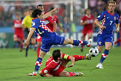 Danijel Pranjic of Croatia vs Nihat Kahveci of Turkey during the UEFA EURO 2008 Quarter-Final soccer match between Croatia and Turkey at Ernst-Happel Stadium, on June 20,2008, in Wien, Austria.  (Photo by Vid Ponikvar / Sportal Images)