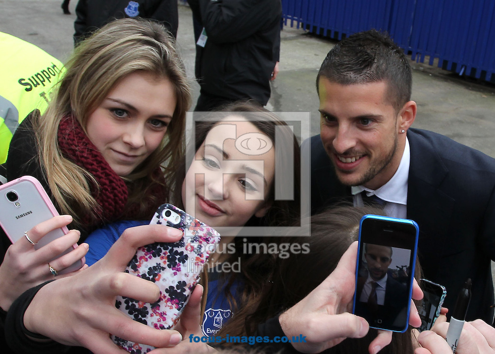 Kevin Mirallas of Everton arrives at Goodison Park prior to the Barclays Premier League match against Liverpool.<br /> Picture by Michael Sedgwick/Focus Images Ltd +44 7900 363072<br /> 07/02/2015