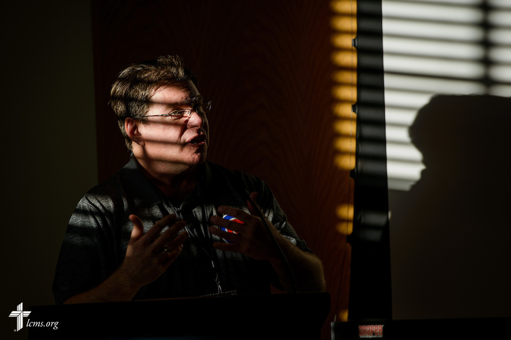 Light from a nearby window casts a pattern on the Rev. Marty Marks, pastor at Immanuel Lutheran Church, DeKalb, Ill., as he presents his sectional during the Liberty National LCMS Campus Ministry Conference on Wednesday, Jan. 4, 2017, at the University of Maryland in College Park, Md. LCMS Communications/Erik M. Lunsford