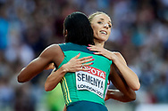 Great Britain, London - 2017 August 13: (L) Caster Semenya from South Africa and (R) Angelika Cichocka (SKLA Sopot) of Poland hug after women's 800 meters final during IAAF World Championships London 2017 Day 10 at London Stadium on August 13, 2017 in London, Great Britain.<br /> <br /> Mandatory credit:<br /> Photo by © Adam Nurkiewicz<br /> <br /> Adam Nurkiewicz declares that he has no rights to the image of people at the photographs of his authorship.<br /> <br /> Picture also available in RAW (NEF) or TIFF format on special request.<br /> <br /> Any editorial, commercial or promotional use requires written permission from the author of image.