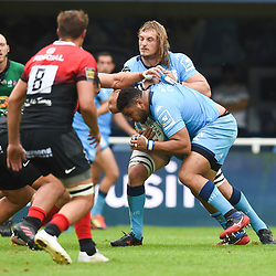 Mohamed HAOUAS of Montpellier  and Jacques DU PLESSIS of Montpellier  during the Top 14 match between Montpellier and Toulouse on October 19, 2019 in Montpellier, France. (Photo by Alexandre Dimou/Icon Sport) - Mohamed HAOUAS - Jacques DU PLESSIS - Altrad Stadium - Montpellier (France)