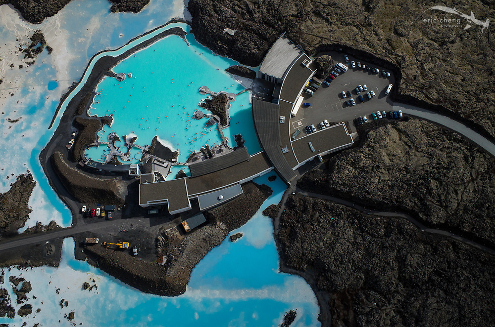 Aerial Blue Lagoon, Iceland. Ricoh GR on DJI Phantom 2 quadcopter.