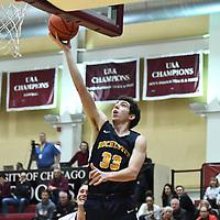 Men's Basketball: University of Chicago Maroons vs. University of Rochester Yellowjackets. Maroons upset the Yellowjackets winning 85-80.<br /> (Credit: Dean Reid, d3photography.com )