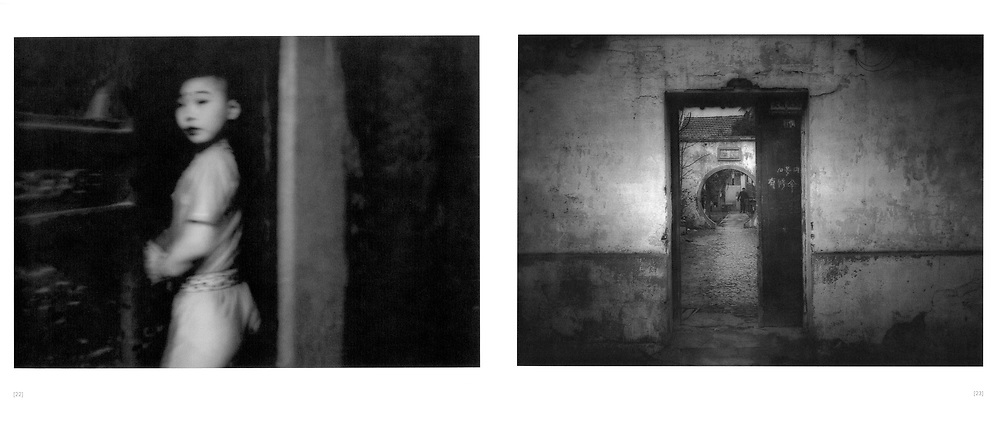 L:  Suspicious glance from a young theatrical performer at the stage door.  Beijing, China.  2001..R:  Looking through a moon gate into a garden.  Suzhou, Jiangsu Province, China.  1996