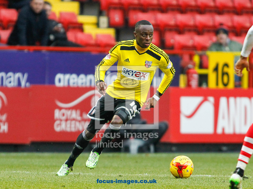 Moses Odubajo of Brentford during the Sky Bet Championship match between Charlton Athletic and Brentford at The Valley, London<br /> Picture by Mark D Fuller/Focus Images Ltd +44 7774 216216<br /> 14/02/2015