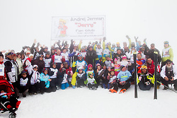 Group picture during last race of Andrej Jerman, Slovenian best downhill skier when he finished his professional alpine ski career on April 6, 2013 in Krvavec Ski resort, Slovenia. (Photo By Vid Ponikvar / Sportida)
