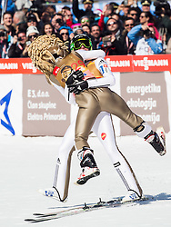 Second placed Robert Kranjec (SLO) as Eagle's mascot and winner Peter Prevc (SLO) celebrate after Ski Flying Hill Individual Competition at Day 4 of FIS Ski Jumping World Cup Final 2016, on March 20, 2016 in Planica, Slovenia. Photo by Vid Ponikvar / Sportida