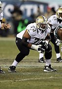 New Orleans Saints guard Jahri Evans (73) gets set during the NFL NFC Wild Card football game against the Philadelphia Eagles on Saturday, Jan. 4, 2014 in Philadelphia. The Saints won the game 26-24. ©Paul Anthony Spinelli