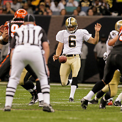 2009 August 14: New Orleans Saints rookie punter Thomas Morstead (6) punts the ball during 17-7 win by the New Orleans Saints over the Cincinnati Bengals in their preseason opener at the Louisiana Superdome in New Orleans, Louisiana.