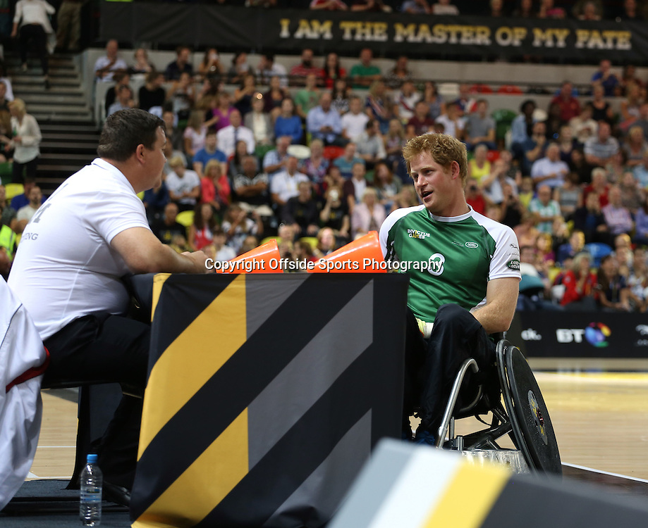 12 September 2014 - Invictus Games Day 2 - Wheelchair Rugby Celebrity Match - His Royal Highness Prince Harry talks to one of the match officials.<br /> <br /> Photo: Ryan Smyth/Offside