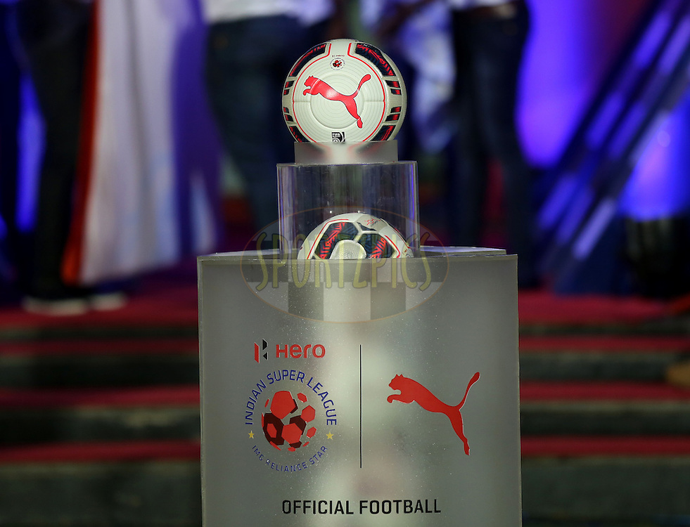 Official ball during match 9 of the Indian Super League (ISL) season 2  between FC Goa and Chennaiyin FC held at the Jawaharlal Nehru Stadium, Fatorda, Goa, India on the 11th October 2015.<br /> <br /> Photo by Sandeep Shetty / ISL/ SPORTZPICS