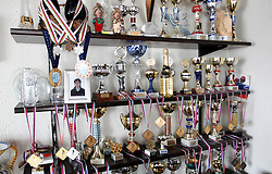 Trophies of Rok Benkovic of Slovenia, World Ski Jumping Champion 2005 in Oberstdorf at his home in Kamnik, on March 24, 2005 in Kamnik, Slovenia. (Photo By Vid Ponikvar / Sportida.com)