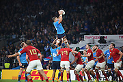 Alessandro Zanni (Italy's back row) winning the line out to keep a sustained period of pressure in France during the Rugby World Cup Pool D match between France and Italy at Twickenham, Richmond, United Kingdom on 19 September 2015. Photo by Matthew Redman.