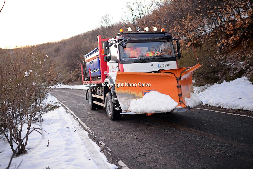 Snowplow machine in the mountain road of Vigo de Sanabria, Zamora