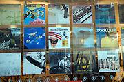 Vintage LP records display in shop window
