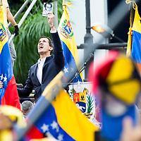 Juan Guaidó, presidente interino de la República de Venezuela, y presidente de la Asamblea Nacional. Protestas contra el gobierno de Maduro realizadas el 23 de enero de 2019. Juan Guaidó, interim president of the Republic of Venezuela, and president of the National Assembly. Protests against the government of Maduro made on January 23, 2019.