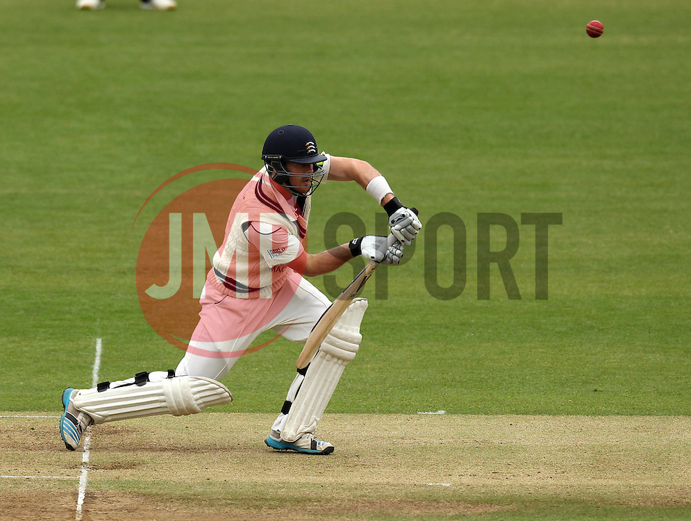 Middlesex's James Harris plays a forward defensive shot - Photo mandatory by-line: Robbie Stephenson/JMP - Mobile: 07966 386802 - 03/05/2015 - SPORT - Football - London - Lords  - Middlesex CCC v Durham CCC - County Championship Division One