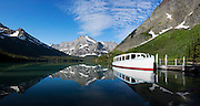 A calm day in on Lake Josephine. in the Many Glacier region of Glacier National Park, Montana, USA