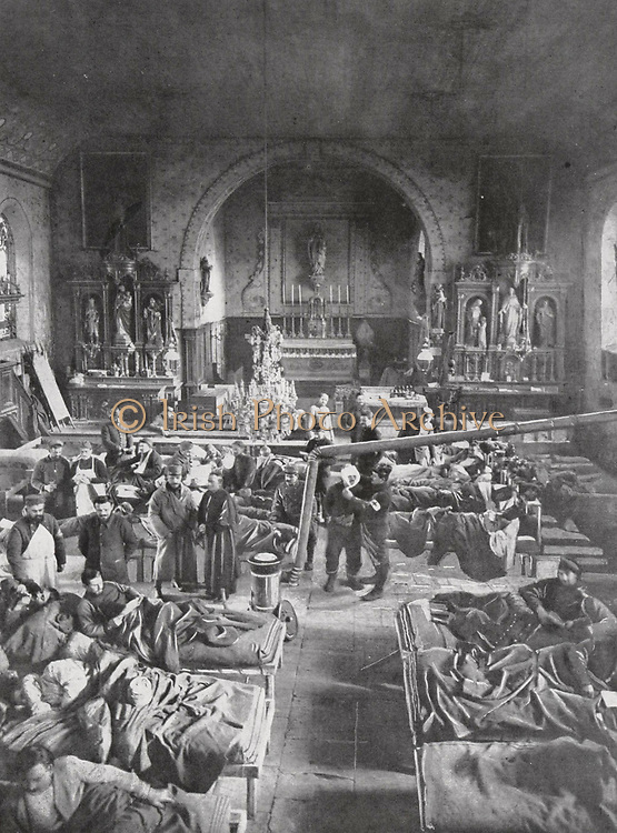 A French country church being used as a field hospital during the First World World War (1914-1918).
