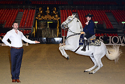 Ben Cohen attends photocall with Andalusian horse Vejador ridden by Fernando Arizo. Ex England rugby player and Strictly Come Dancing star takes part in photocall with two Andalusian horses to mark the start of The London International Horse Show, which runs 16-22 December, London, United Kingdom. Monday, 16th December 2013. Picture by Nils Jorgensen / i-Images