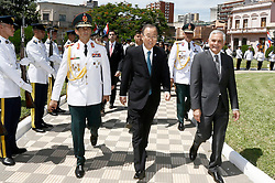 UN Secretary-General Ban Ki-moon (C) arrives at the Presidential Palace in Asuncion, Paraguay, on Feb. 25, 2015. UN Secretary-General Ban Ki-moon on Wednesday morning arrived in Asuncion, Paraguay, for a two-day visit to the Latin American country, the first by a UN chief in the country in nearly 60 years, a UN spokesman said. EXPA Pictures &copy; 2015, PhotoCredit: EXPA/ Photoshot/ [e]MARCELO ESPINOSA<br /> <br /> *****ATTENTION - for AUT, SLO, CRO, SRB, BIH, MAZ only*****