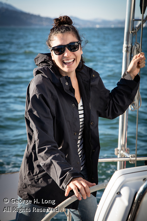 Emma Chammah at the helm of Prime Number in San Francisco Bay